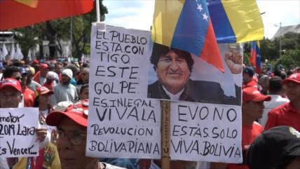 Chavismo marcha en apoyo a Maduro y en contra de golpe en Bolivia