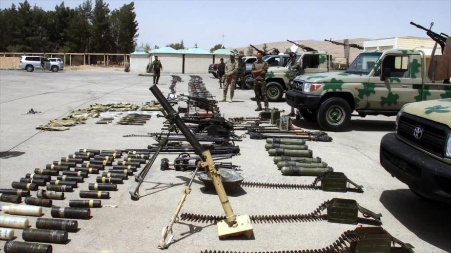 Armas descubiertas por el Ejército sirio en su avance frente a los terroristas en zonas próximas a los altos del Golán.