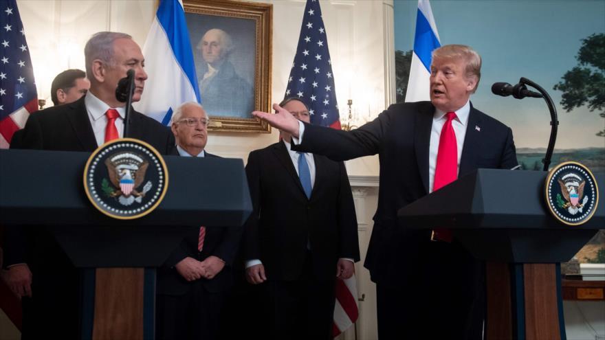 El presidente de EE.UU., Donald Trump, y el premier israelí, Benjamín Netanyahu, en una rueda de prensa en la Casa Blanca, 25 de marzo de 2019. (Foto: AFP)