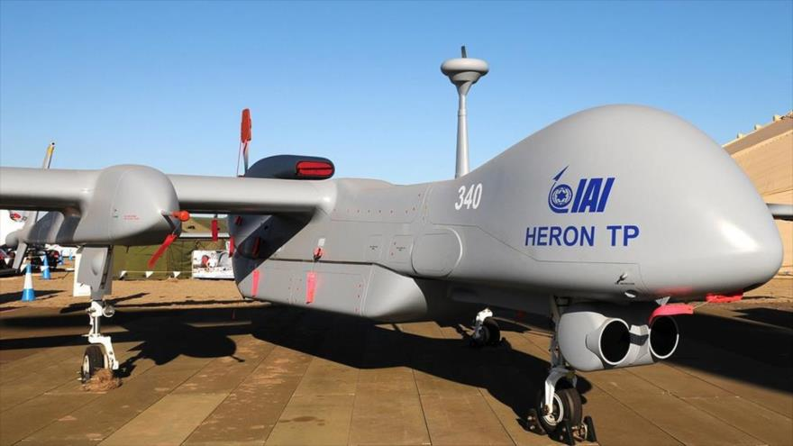 Un avión no tripulado (dron) Heron TP de fabricación israelí.