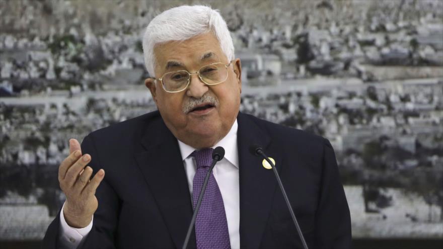 El presidente de la Autoridad Nacional Palestina (ANP), Mahmud Abás, habla en una reunión en Cisjordania, 6 de octubre de 2019. (Foto: AFP)