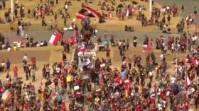 Chilenos se manifiestan para celebrar un mes de protestas sociales