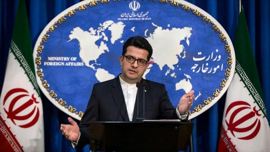 El portavoz de la Cancillería de Irán, Seyed Abás Musavi, ofrece una rueda de prensa.