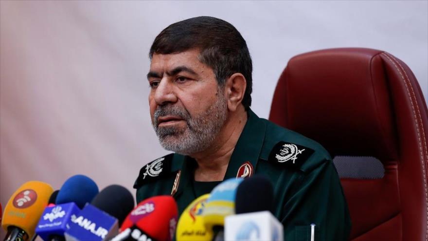 El portavoz del CGRI de Irán, el general de brigada Ramezan Sharif, en una rueda de prensa en Teherán, 29 de enero de 2019. (Foto: ANA)