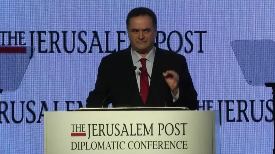 El canciller israelí, Yisrael Katz, habla en la Conferencia Diplomática de Jerusalem Post, 21 de noviembre de 2019.