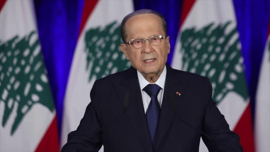 El presidente de El Líbano, Michel Aoun, ofrece un discurso en Beirut, la capital, 21 de noviembre de 2019.