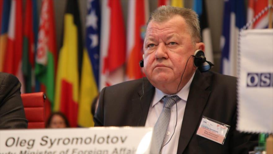 El viceministro de Asuntos Exteriores de Rusia, Oleg Syromolotov, en una rueda de prensa.
