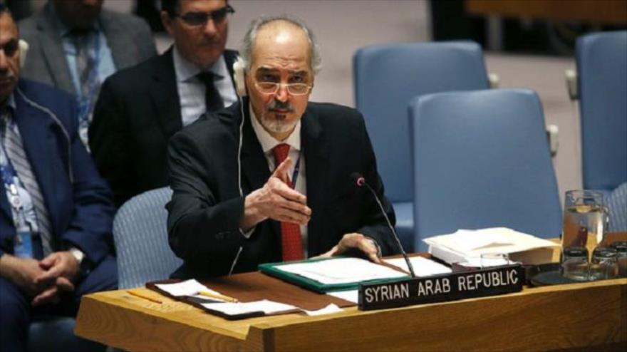 Embajador sirio ante la ONU, Bashar al-Yafari, durante una sesión del Consejo de Seguridad.