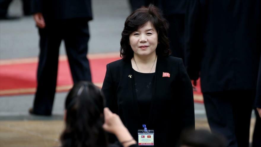 La viceministra norcoreana de Asuntos Exteriores, Choe Son-hui, en Vietnam, 1 de marzo de 2019. (Foto: AFP)