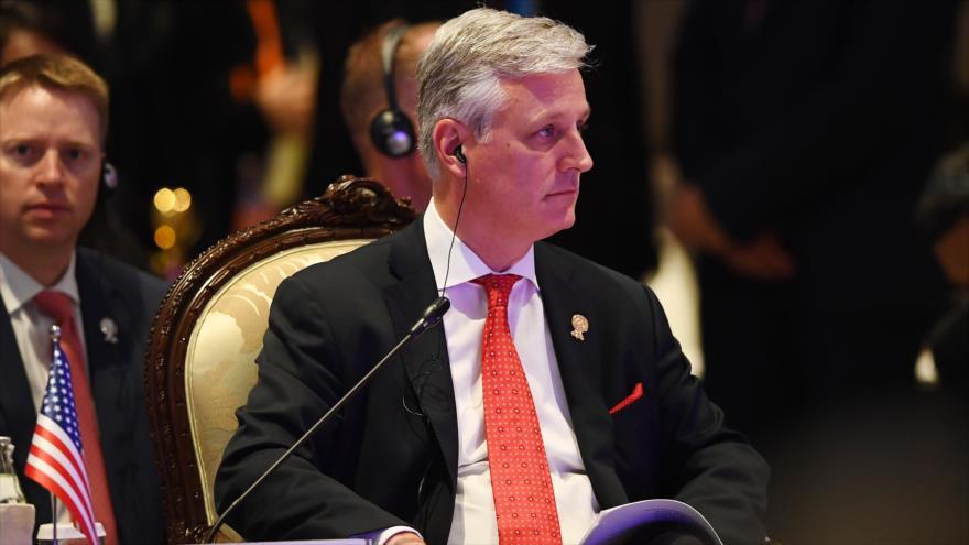 El asesor de Seguridad Nacional de EE.UU., Robert O'Brien, en una cumbre en Bangkok, la capital de Tailandia, 4 de noviembre de 2019. (Foto: AFP)