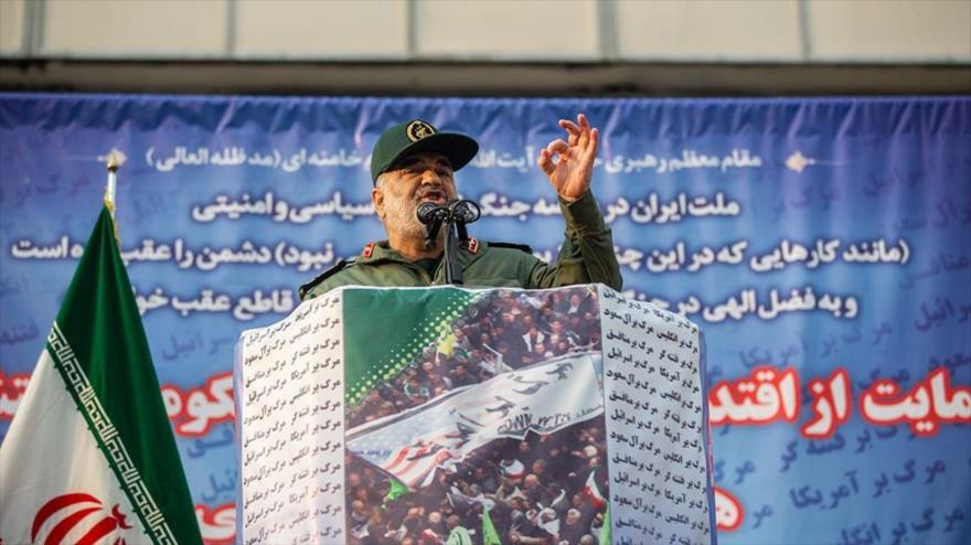 El comandante en jefe del CGRI de Irán, el general de división Hosein Salami, en una marcha en Teherán (capital), 25 de noviembre de 2019. (Foto: Fars)