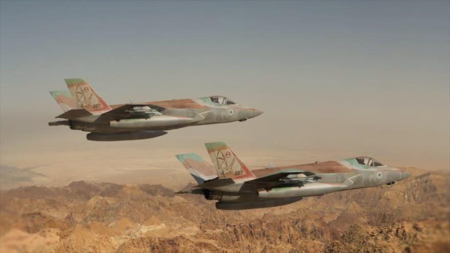 Dos cazabombarderos F-35 de la fuerza aérea israelí.