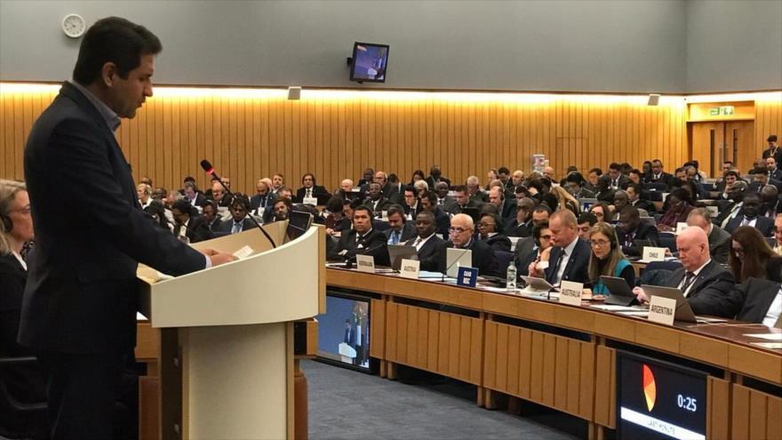 El jefe de la Organización de Puertos y Navegación iraní, Mohamad Rastad, en el 31.º período de sesiones de la OMI, Londres, 26 de noviembre de 2019.