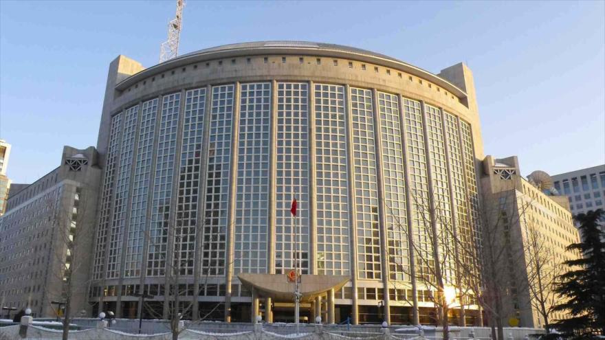 La sede de la Cancillería de China en Pekín, la capital.