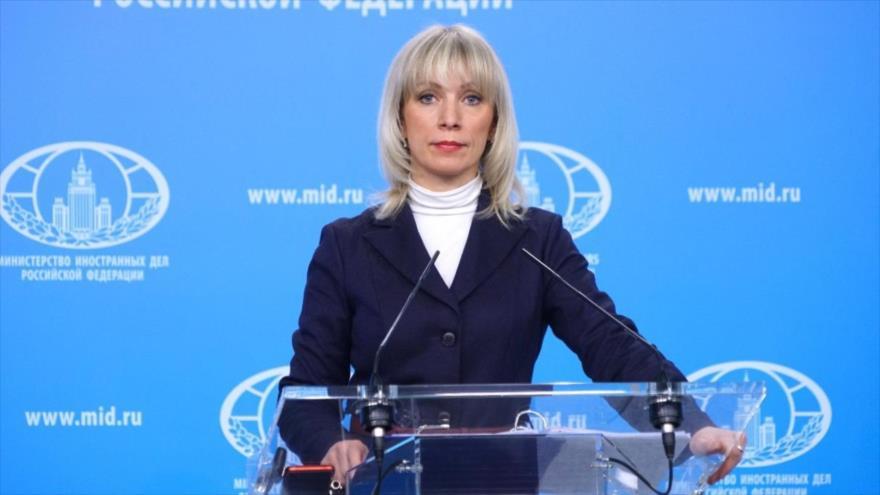 La portavoz del Ministerio de Relaciones Exteriores de Rusia, María Zajárova, ofrece una rueda de prensa en Moscú (capital).