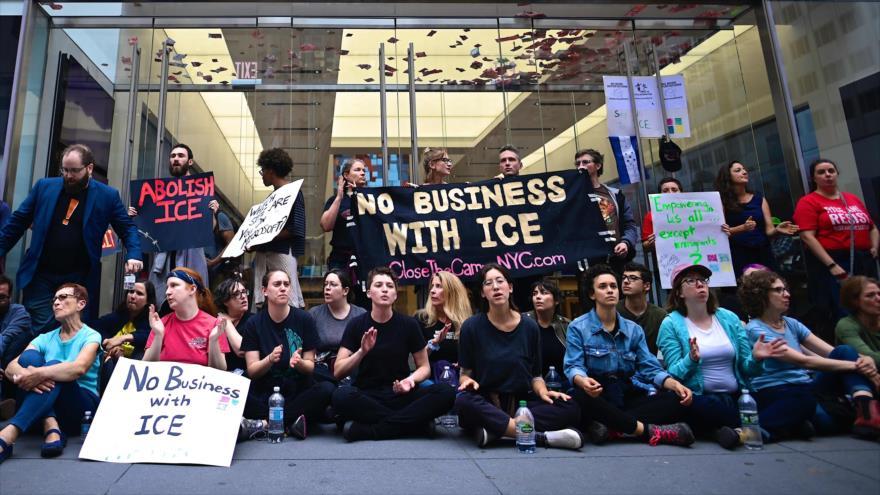 Se manifiestan contra la política de inmigración de Estados Unidos en Nueva York, EE.UU., 14 de septiembre de 2019. (Foto: AFP)