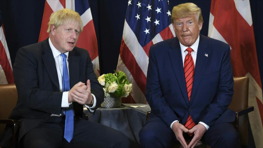 El premier británico, Boris Johnson (izda.), junto al presidente de EE.UU., Donald Trump, en marco de la reunión de la ONU, 24 de septiembre de 2019.