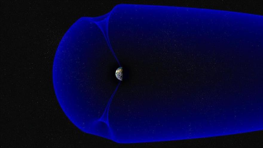 La magnetosfera de la Tierra, que muestra las cúspides polares norte y sur. (Ilustración del Centro Espacial Andoya / Trond Abrahamsen)