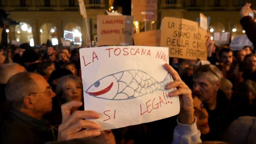 Miles de italianos protestan contra avance de la ultraderecha