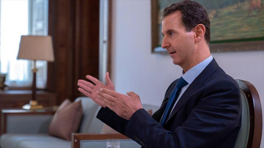 El presidente de Siria, Bashar al-Asad, en una entrevista con la agencia oficial de noticias siria, SANA, 28 de noviembre de 2019. (Foto: AFP)