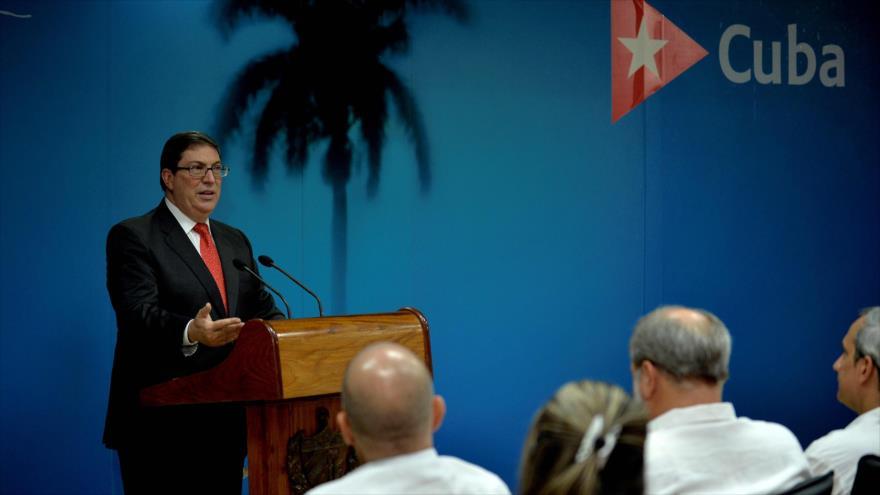 El ministro cubano de Relaciones Exteriores, Bruno Rodríguez, en una rueda de prensa en La Habana, 20 de septiembre de 2019. (Foto: AFP)
