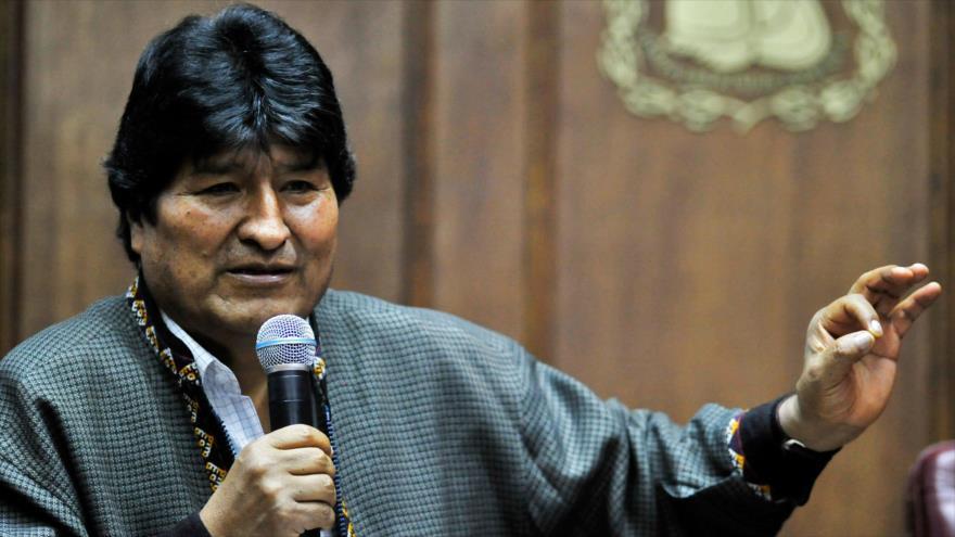 El depuesto presidente boliviano, Evo Morales, ofrece un discurso en México, 27 de noviembre de 2019. (Foto: AFP)