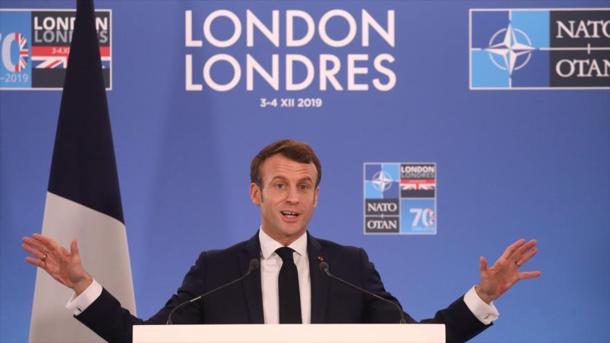Presidente francés, Emmanuel Macron, da conferencia de prensa en cumbre de OTAN, Londres, capital del Reino Unido, 4 de diciembre de 2019. (Foto: AFP)