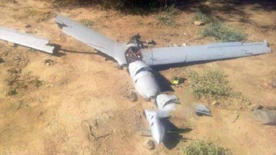 Un avión no tripulado (dron) espía de Arabia Saudí, derribado por las fuerzas yemeníes.