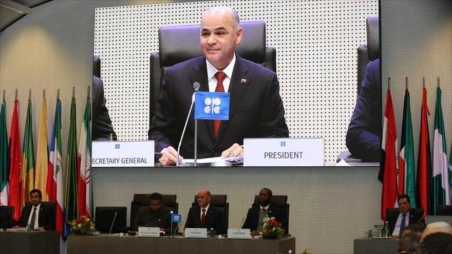 El ministro venezolano de Petróleo, Manuel Quevedo, en la reunión de la OPEP en Viena (capital austriaca). 5 de diciembre de 2019.