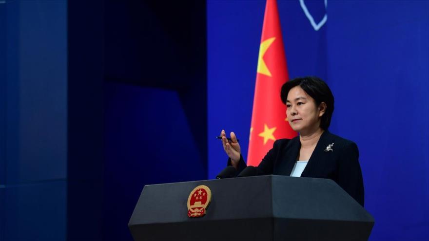 La portavoz del Ministerio de Exteriores de China, Hua Chunying, habla en una rueda de prensa en Pekín, la capital del país.