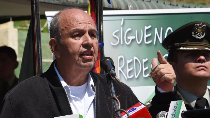 El ministro del gobierno de facto boliviano, Arturo Murillo, en la presentación de la unidad antiterrorista GAT en La Paz, 3 de diciembre de 2019. (Foto: AFP)