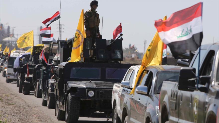 Un convoy de las fuerzas populares iraquíes que luchan contra el terrorismo.