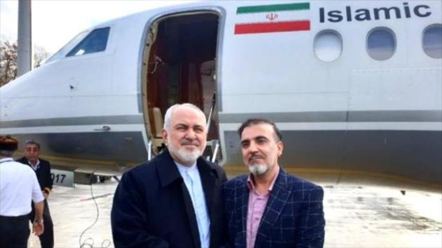 El científico iraní Masud Soleimani (dcha.) y el canciller iraní, Mohamad Yavad Zarif, 7 de diciembre de 2019.