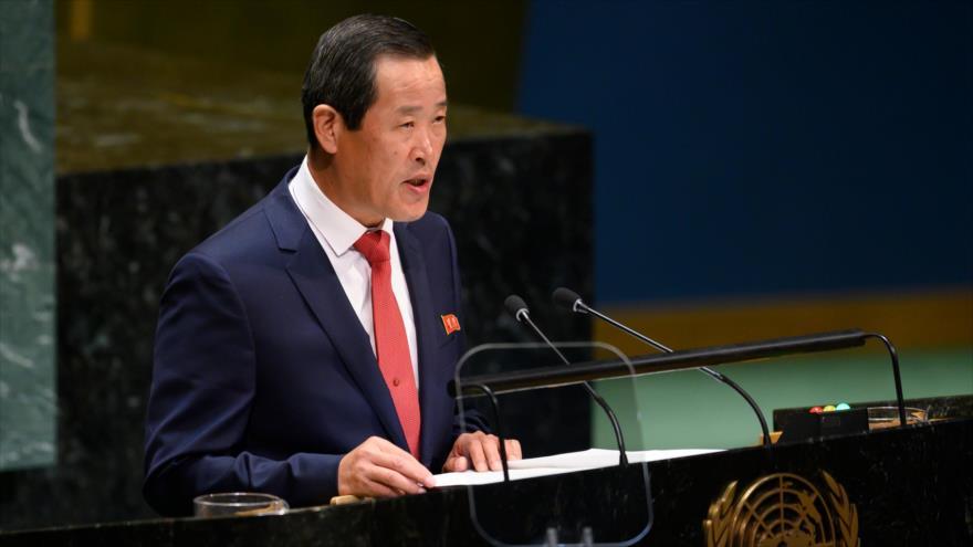 El embajador de Corea del Norte ante la ONU, Kim Song, habla en la 74 sesión de la AGNU, Nueva York, EE.UU., 30 de septiembre de 2019. (Foto: AFP)