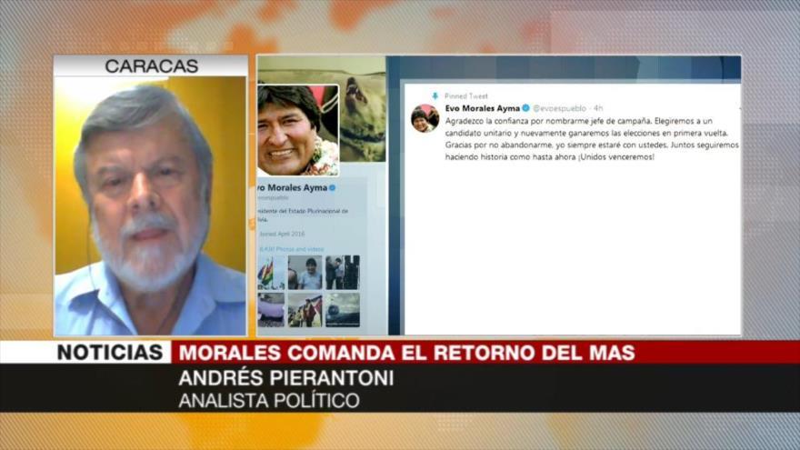 Pierantoni: Nominación de Evo por MAS señala reunificación en Bolivia