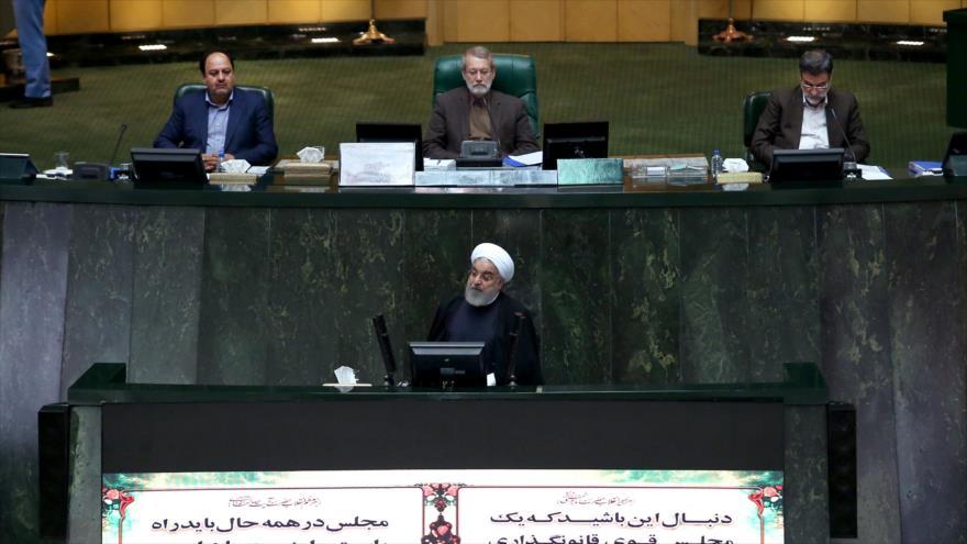 Hasan Rohani, presidente de Irán, habla en el Parlamento nacional tras entregar nuevo presupuesto del país, 8 de diciembre de 2019. (Foto: President.ir)