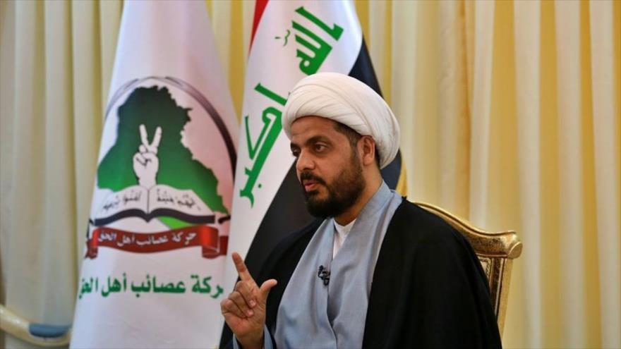 Qais al-Jazali, líder del grupo Asaib Ahl Al-Haq, en una entrevista en Bagdad, capital de Irak, 28 de enero de 2019. (Foto: AP)