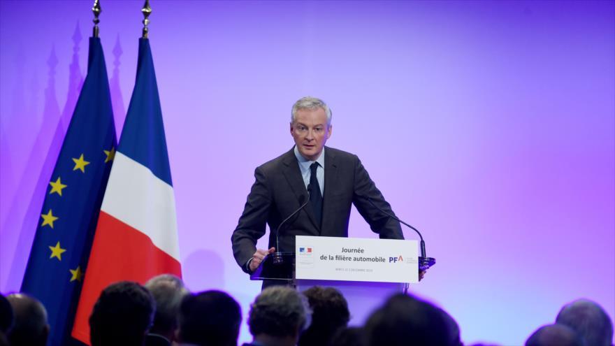 El ministro francés de Finanzas, Bruno Le Maire, habla en una reunión, París (capital), 2 de diciembre de 2019. (Foto: AFP)