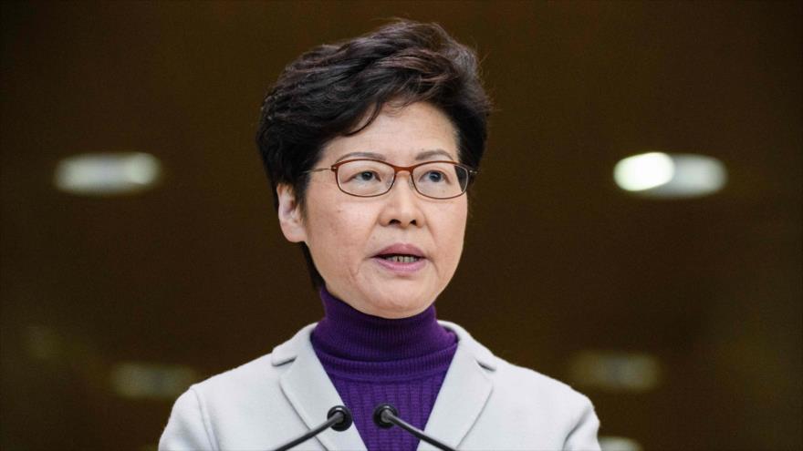 La jefa del Ejecutivo de Hong Kong, Carrie Lam, ofrece un discurso, 3 de diciembre de 2019. (Foto: AFP)