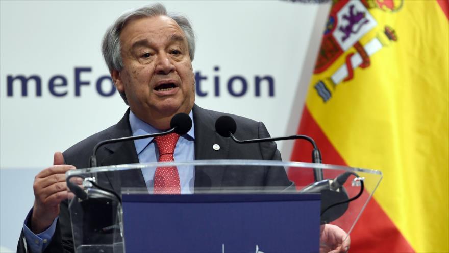 El secretario general de la ONU, António Guterres, en una rueda de prensa en Madrid (capital española), 2 de diciembre de 2019. (Foto: AFP)