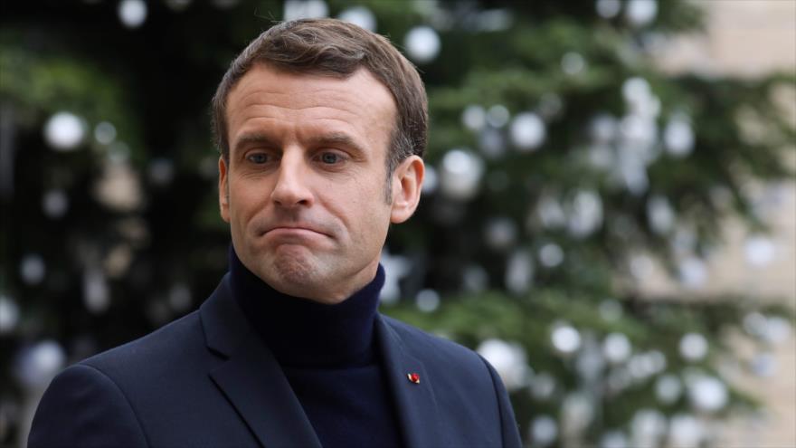 Emmanuel Macron, presidente de Francia, tras una reunión con el presidente del Consejo Europeo en París, 10 de diciembre de 2019. (Foto: AFP)