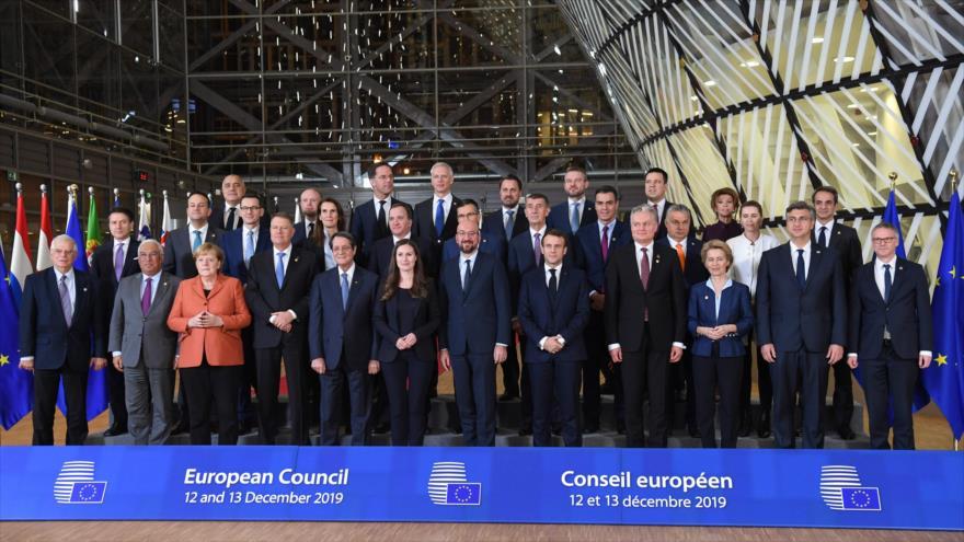 Los líderes de los países de la Unión Europea reunidos en Bruselas, Bélgica, 12 de diciembre de 2019. (Foto: AFP)