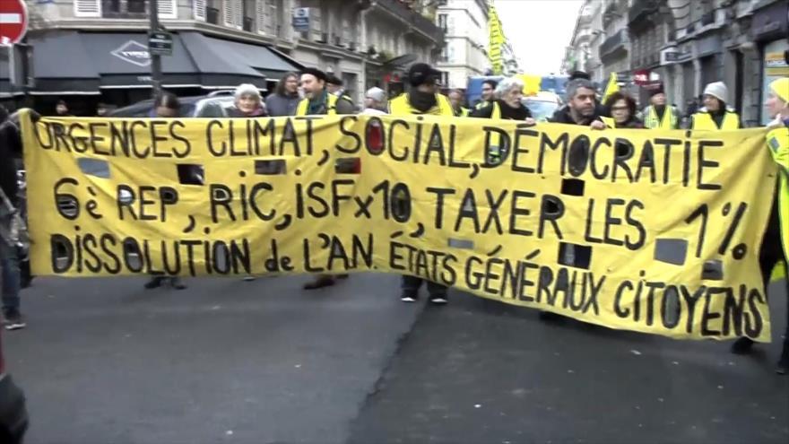 Chalecos amarillos se manifiestan por 57.ª semana en Francia