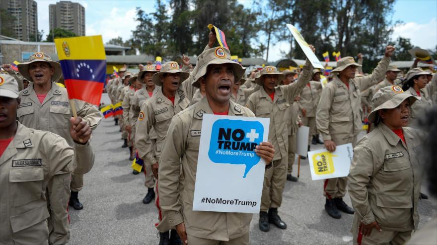 Un desfile de la Milicia Nacional Bolivariana en Caracas, capital de Venezuela, 17 de septiembre de 2019. (Foto: AFP)