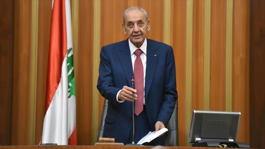 El presidente del Parlamento de El Líbano, Nabih Berri, ofrece un discurso en Beirut, la capital, 23 de mayo de 2018. (Foto: AFP)