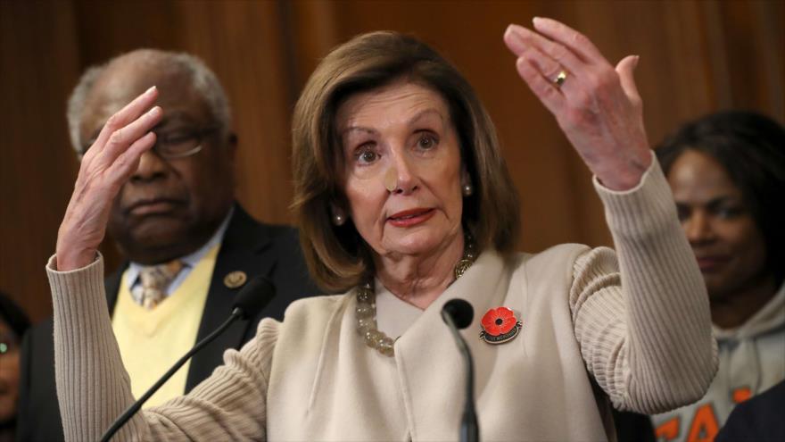 La presidenta de la Cámara de Representantes, Nancy Pelosi, Washington, 17 de diciembre de 2019. (Foto: AFP)