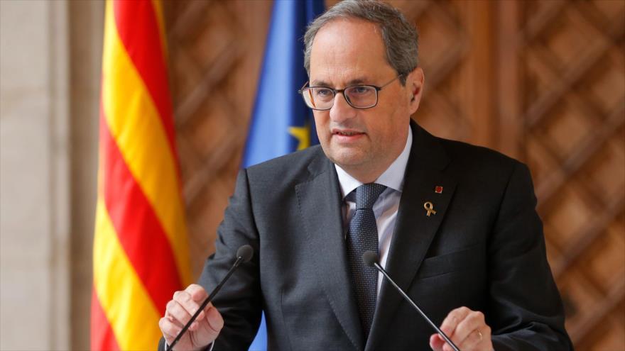 El presidente de la Generalitat, Quim Torra, en una rueda de prensa en Barcelona, 19 diciembre de 2019. (Foto: AFP)