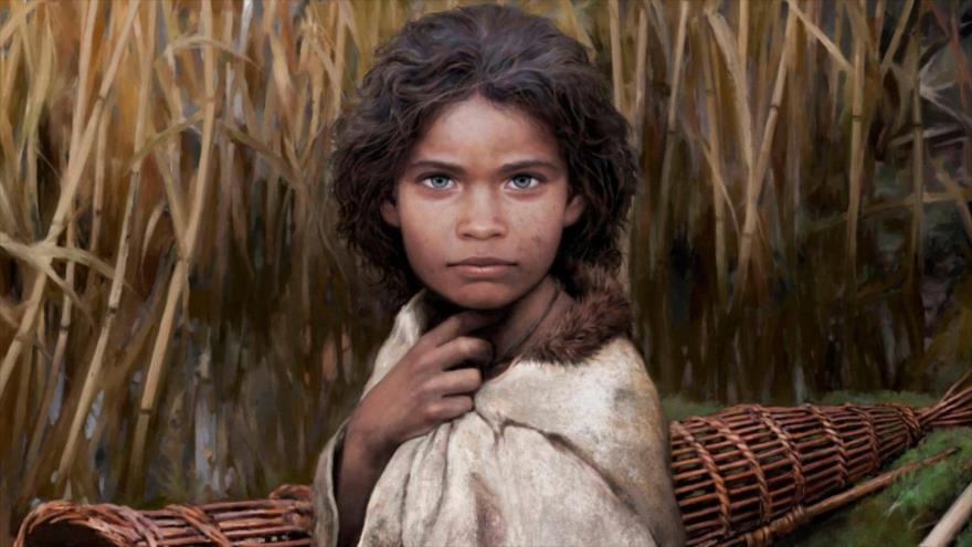 Reconstrucción artística de Lola, chica que vivió hace 5700 años en la Edad de Piedra.