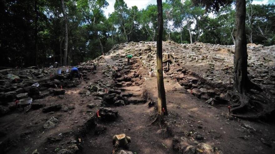 Una vista de la zona arqueológica de Kulubá en México que alberga un palacio prehispánico maya.
