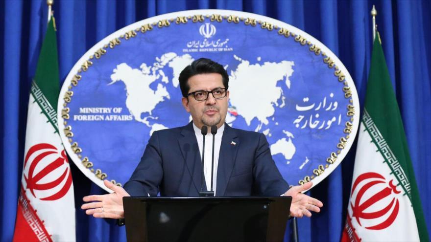 El portavoz de la Cancillería de Irán, Seyed Abás Musavi, en una rueda de prensa en Teherán, capital persa. 16 de diciembre de 2019. (Foto: IRNA)